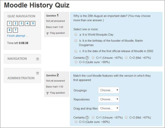 Moodle History Quiz